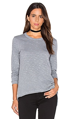 Shrunken Crew Unfinished Hem Long Sleeve Top