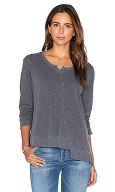 Placket Slouchy Shifted Long Sleeve Top in Camp