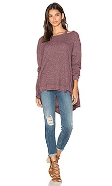 Open Neck Slouchy Big Back Slant Top en Maroon Heather