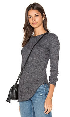 Twist Hem Crew Neck Long Sleeve Top en Black Heather