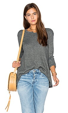 Shifted Crew Trapeze Long Sleeve Top in Bottle Heather