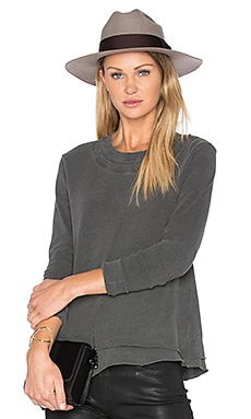 Mock Layered Tee in Distressed Black