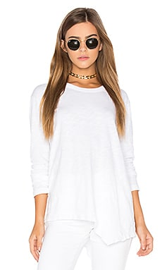 Slub Twist Seam Slouchy Tee in White