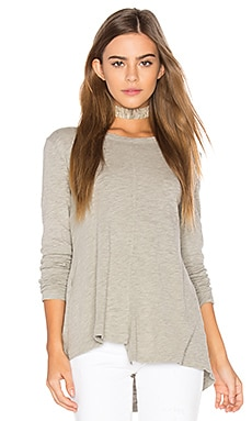 Slub Layered Open Back Tee in Grey Heather