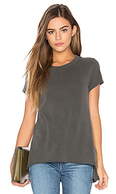 Shrunken Side Slit Tee in Distressed Black