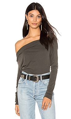 Off Shoulder Tunic in Distressed Black