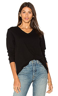 V Neck Slouchy Long Sleeve in Black Basic