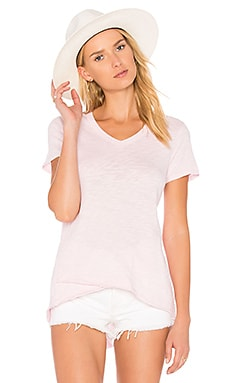 Shrunken V-Neck Mock Hem Tee