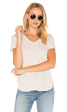 V-Neck Baby Slit Shirttail Tee