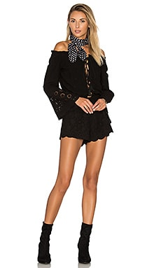 Majorca Embroidery Romper in Black
