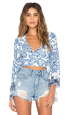 Winston White Solei Wrap Top in Ocean Print
