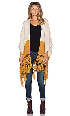 Wilde Heart Cross My Heart Poncho in Beige & Camel