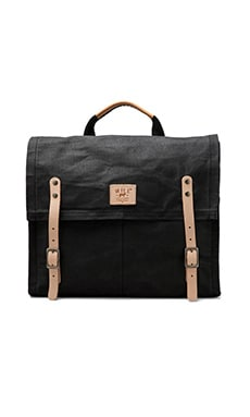 WILL Leather Goods Wax Coated Messenger in Black