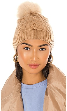Cable Beanie With Faux Pom White + Warren $165 NEW