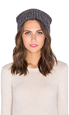 White + Warren Plush Rib Beanie in Black & Pearl
