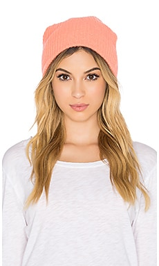 White + Warren Plush Rib Beanie in Neon Sunset
