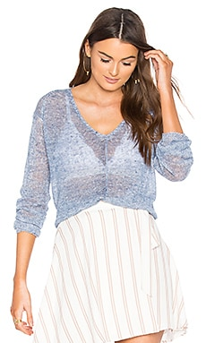 Rib V Neck Sweater in Indigo & White