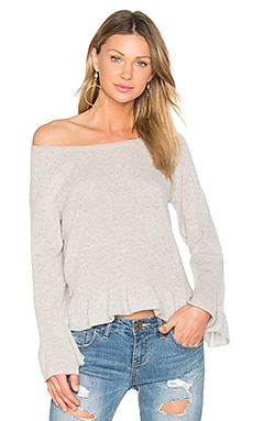 Ruffle Hem Sweater in Misty Grey Heather