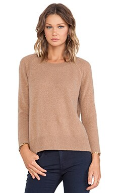White + Warren Essential Sweatshirt in Camel Heather