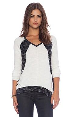 White + Warren Raglan Intarsia V-Neck Sweater in Ivory & Black