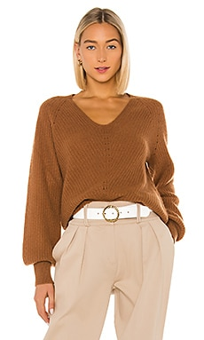 Cashmere Puff Sleeve Ribbed V Neck White + Warren $375