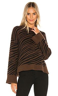 Cashmere Zebra Jacquard Crewneck Sweater White + Warren $435