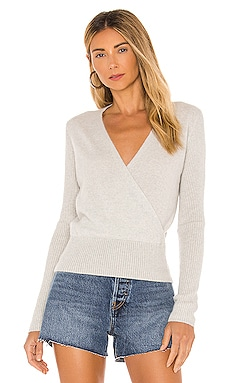 Cashmere Ribbed Sleeve Wrap Sweater White + Warren $350