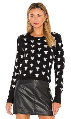 Polka-Heart Crewneck Sweater White + Warren $385