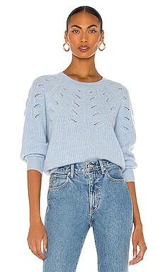 Lace Pointelle Crewneck Sweater White + Warren $395 NEW