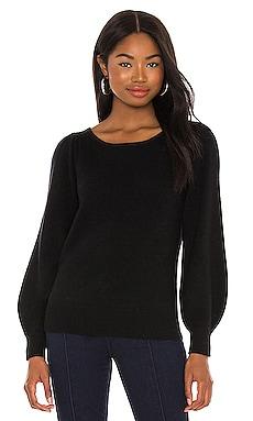 Blouson Sleeve Boatneck Sweater White + Warren $310 NEW