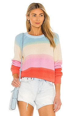 Recycled Cotton Textured Rainbow Crewneck White + Warren $275