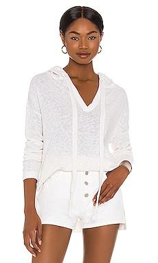 Cotton Linen Blend Beach Hoodie White + Warren $275 NEW