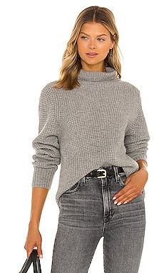 Cashmere Luxe Waffle Knit Stand Neck Sweater White + Warren $385