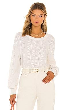 Sustainable Cotton Mixed Stitch Crew Neck Sweater White + Warren $275