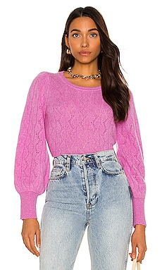 Cashmere Lace Stitch Scallop Crew Neck Sweater White + Warren $385