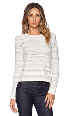 White + Warren Embellished Crew Neck Sweater in Snow Multi