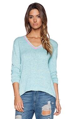 White + Warren Neon Trim V Neck Sweater in Dew & Neon Pink