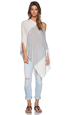 White + Warren Blocked Side Slit Poncho in Granite & White