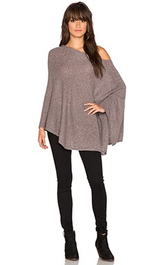 White + Warren Two Way Angled Poncho in Redwood Heather