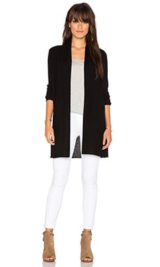 White + Warren Essentiel Trapeze Cardigan in Black