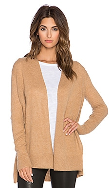 White + Warren Side Crossover Cardigan in Caramel Heather