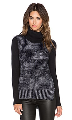 White + Warren Side Slit Turtleneck Sweater in Black & Chalk