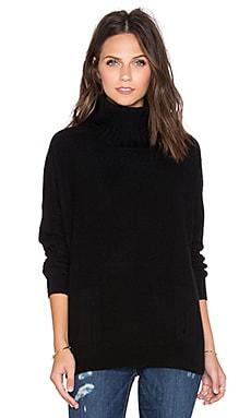 White + Warren Wedge Turtleneck Sweater in Black