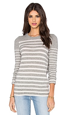 White + Warren Crew Neck Stripe Sweater in Grey & White