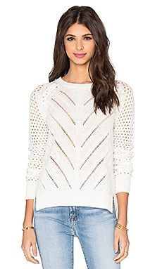 White + Warren Lace Chevron Sweater in White
