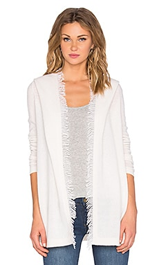 White + Warren Fringe Hooded Cardigan in Pearl White