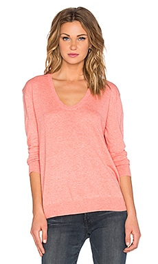 White + Warren Soft Neck Sweater in Coral Heather
