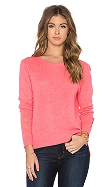 White + Warren Cut Out Crewneck Sweater in Guava Heather