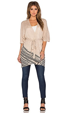White + Warren Watercolor Stripe Poncho in Cobblestone & Black