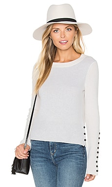 White + Warren Button Crew Neck Sweater in White & Silver